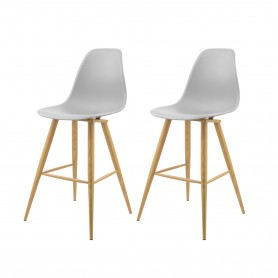 LOT DE 2 TABOURETS DE BAR AVEC PIEDS EN METAL BARRIO GREY PREGO
