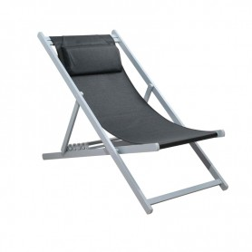 CHILIENNE PLIANTE INCLINABLE EN ALUMINIUM CHILI2 BLACK+SILVER MOBILIER RAINEAU