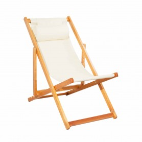 CHILIENNE PLIANTE INCLINABLE EN BOIS DE PEUPLIER CHILI BEIGE MOBILIER RAINEAU