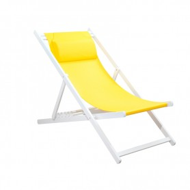 CHILIENNE PLIANTE INCLINABLE EN ALUMINIUM CHILI2 YELLOW+WHITE MOBILIER RAINEAU