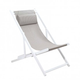 CHILIENNE PLIANTE INCLINABLE EN ALUMINIUM CHILI2 TAUPE+WHITE MOBILIER RAINEAU