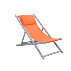 CHILIENNE PLIANTE INCLINABLE EN ALUMINIUM CHILI2 ORANGE+SILVER MOBILIER RAINEAU