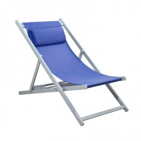CHILIENNE PLIANTE INCLINABLE EN ALUMINIUM CHILI2 NAVY BLUE+SILVER MOBILIER RAINEAU
