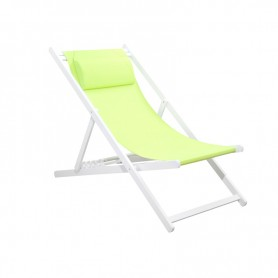 CHILIENNE PLIANTE INCLINABLE EN ALUMINIUM CHILI2 GREEN+WHITE MOBILIER RAINEAU