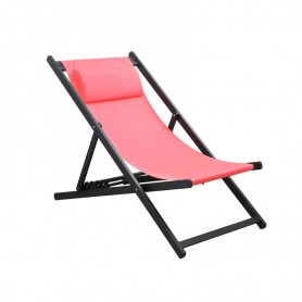 CHILIENNE PLIANTE INCLINABLE EN ALUMINIUM CHILI2 CORAL+DARK GRAY MOBILIER RAINEAU