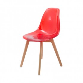 CHAISE SCANDINAVE MILANA TRANSPARENT ROUGE MAC-ANDREWS