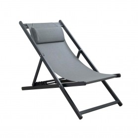 CHILIENNE PLIANTE INCLINABLE EN ALUMINIUM CHILI2 GRAY+DARK GRAY MOBILIER RAINEAU